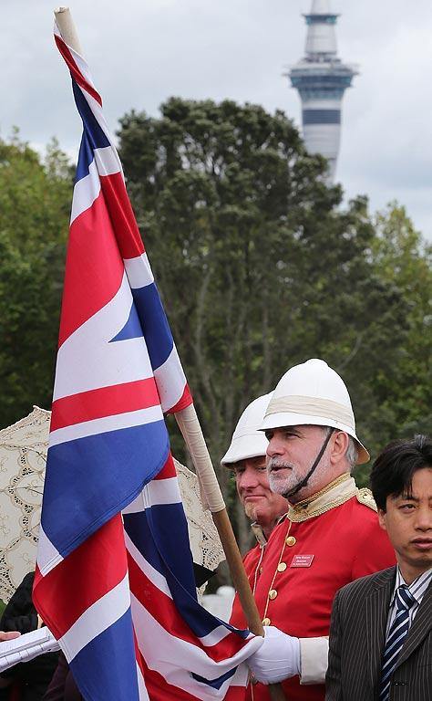 "Royal fan ""Major Blunder"" turned out in his full finery to see Prince Charles and Camilla during the Armistice Day commemorations outside the Auckland War Memorial Museum."