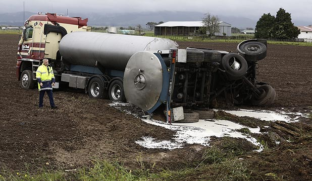 Milk spills from a crash tanker at Opiki, south of Palmerston North.