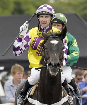 WINNING RIDE: Sacred Falls and jockey Leith Innes after winning the 2000 Guineas at Riccarton.