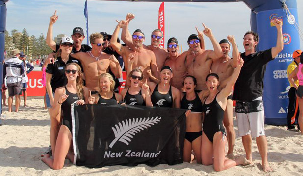 The victorious New Zealand team: Back row (from left): Susan Perrit (physio), Mark Weatherall (manager), Steven Kent, Jason Pocock (assistant coach), Andy McMillan, Steven Ferguson, Max Beattie, Kevin Morrison, Paul Cracroft-Wilson, Scott Bartlett (coach). Front row (from left): Laura Quilter, Tash Hind, Sam Lee, Devon Halligan, Chanel Hickman, Nikki Cox.