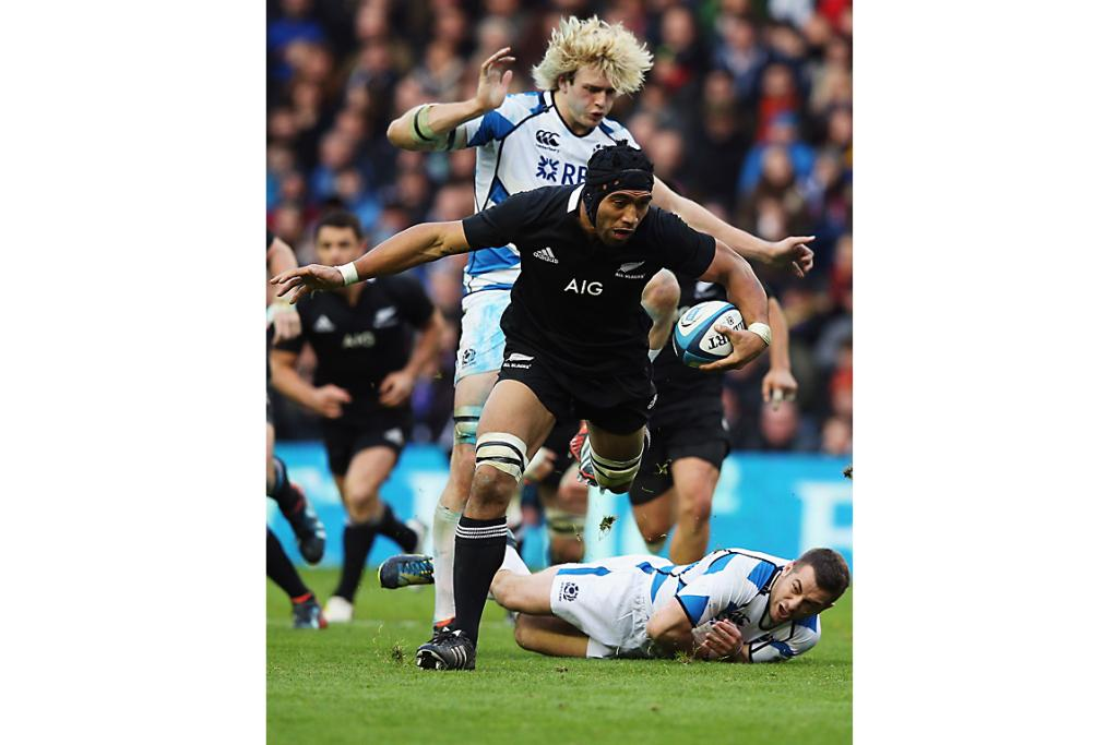 Victor Vito of the All Blacks charges forward.