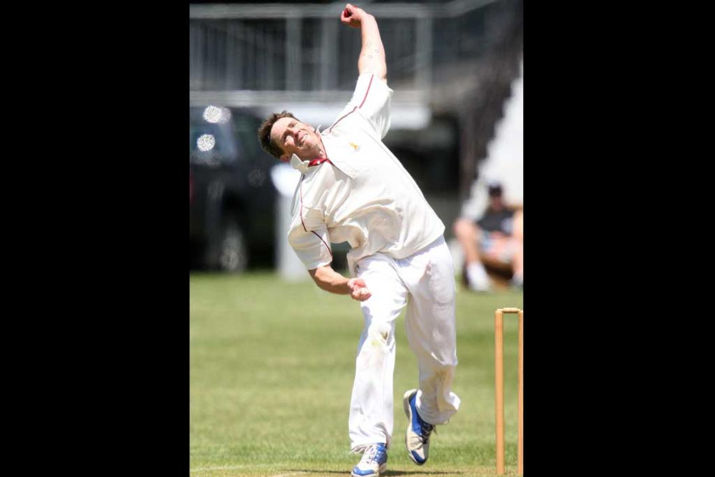 Papakura bowler Joel Hood inaction in the Manukau & Papakura one day club cricket match at War Memorial Park in Manurewa on Saturday afternoon.