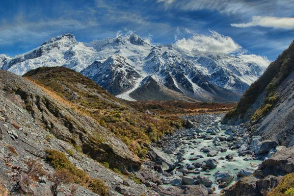 Panorama of the Hooker Glacier trek.