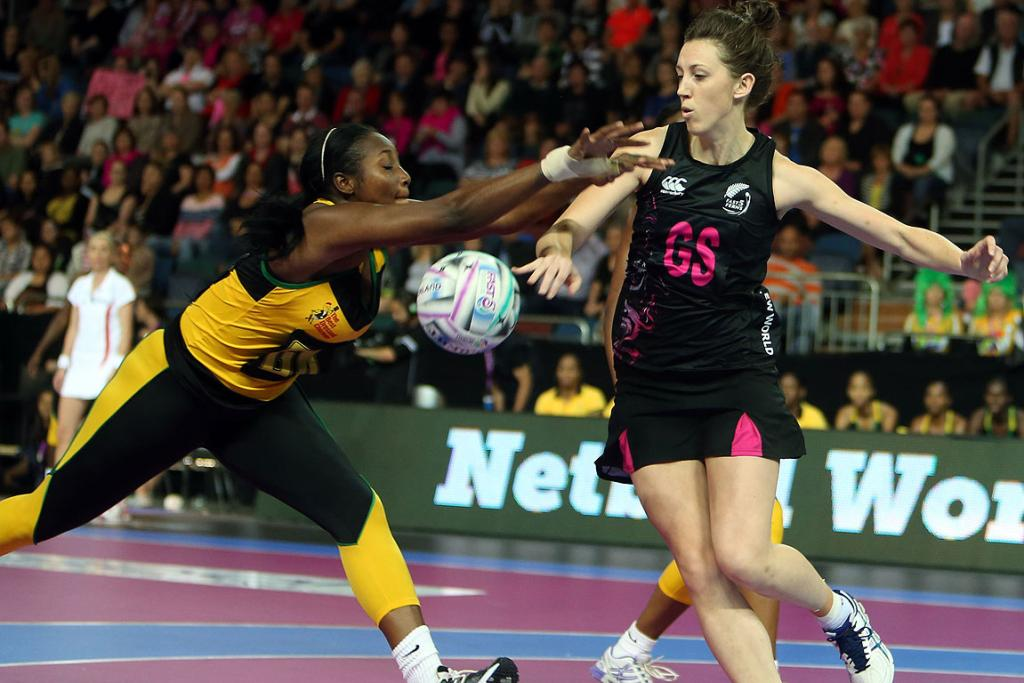 Bailey Mes in action during match between Jamaica and the Fast5 Ferns at the Fast5 Netball World Series at Vector Arena.