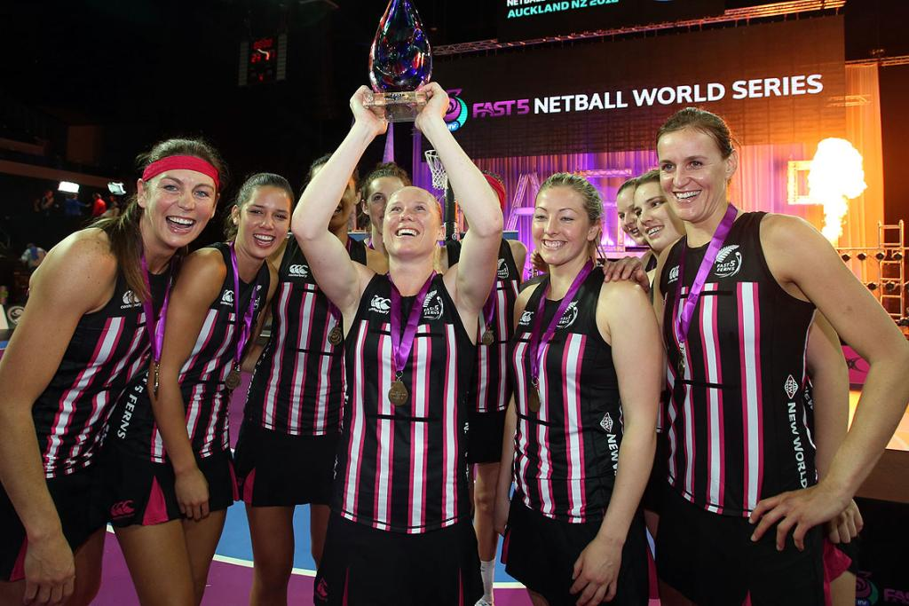 Fast5 Ferns celebrate after the final match against England at the Fast5 Netball World Series at Vector Arena.