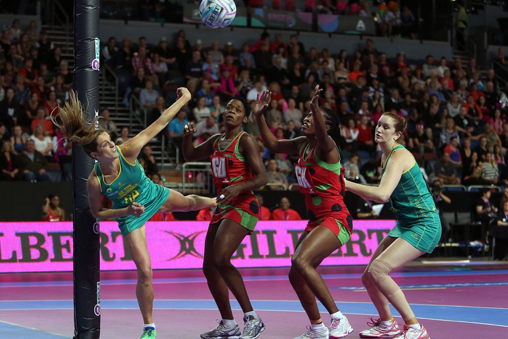 Australia's Verity Simmons secures the loose ball during the match between Malawi and Australia at the Fast5 Netball World Series at Vector Arena.