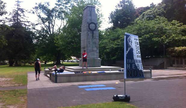 A personal training business has been using the Cenotaph in Memorial Park to work out on.