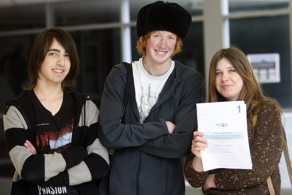Relief: Wellington High students, Isaac Sharman, Callum MacRae and Lily MacRae, after sitting the 2012 NCEA English exam.