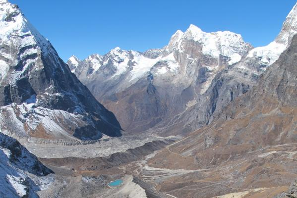 View from above the Trekking outpost of Khare, Nepal.