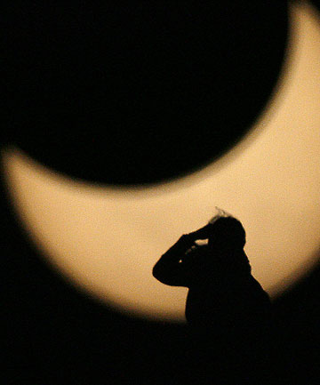 PARTIAL ECLIPSE: An image from an eclipse in 2008. Tomorrow's eclipse will be the best since the early 1960s.