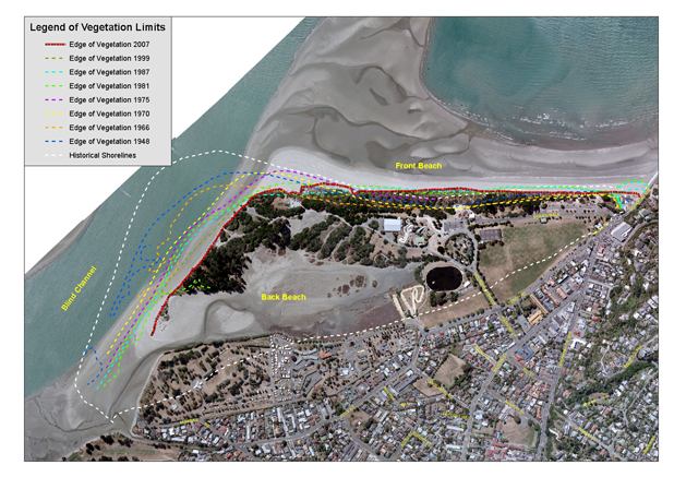 SANDS OF TIME: An aerial photo of Tahunanui Beach, showing erosion since 1948