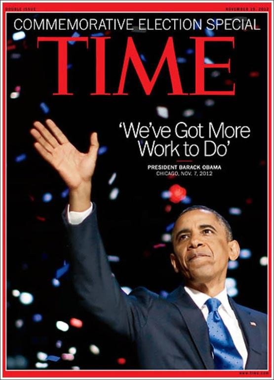 Magazine covers on Obama's reelection