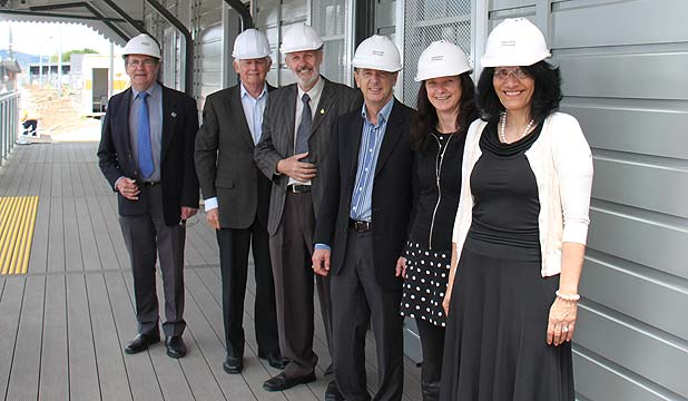 RENOVATED: Taking a site tour of the Papakura train station upgrade are Papakura Local Board members, from left: Michael Turner, Graham Purdy, Brent Catchpole, John Robinson, Caroline Conroy and chairwoman Hine Joyce-Tahere.