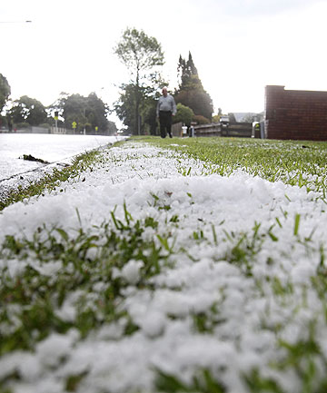 CITY-WIDE SPREAD: Hail was also covering the ground in Papakura this afternoon.
