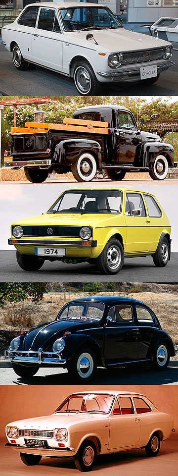 Toyota Corolla, Ford F-Series, Volkswagen Golf, Volkswagen Beetle and Ford Escort.