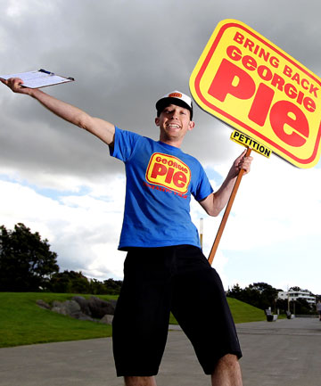 ON A MISSION: Whakatane Pak 'n Save employee Grant Duffield is in New Plymouth petitioning to get restaurant chain Georgie Pie back up and running