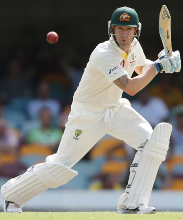 CAPTAIN'S KNOCK: Michael Clarke plays a shot on his way to 259 not out in the first test against South Africa in Brisbane.