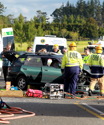 Two people were injured in a three-car crash near Inglewood yesterday