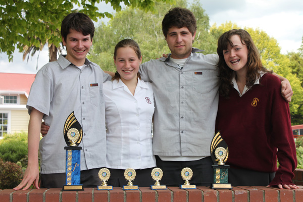 Matamata College Future Problem Solving team members Tim Gray, Stephanie Williams, Liam Nelson and Alicia Stewart.