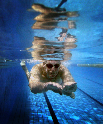 ANOTHER LAP: Bill Devonshire makes his way through the early morning water at the Lido.