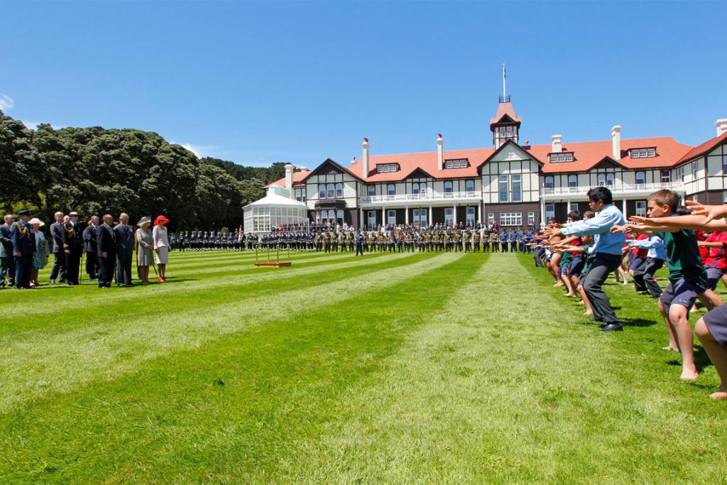 A kapa haka group performs at Government House for Prince Charles with Camilla's visit to Wellington.