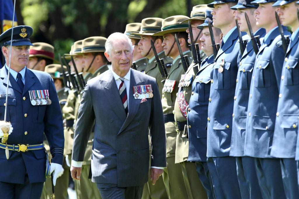 Prince Charles inspects New Zealand armed forces at Government House in Wellington.