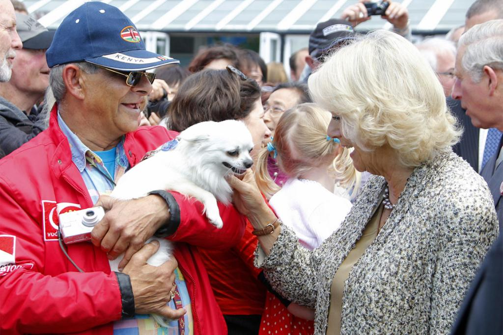 Camilla meets Donny Shermond and two-year-old chihuahua Amigo on the Wellington Waterfront during her tour with husband Prince Charles.
