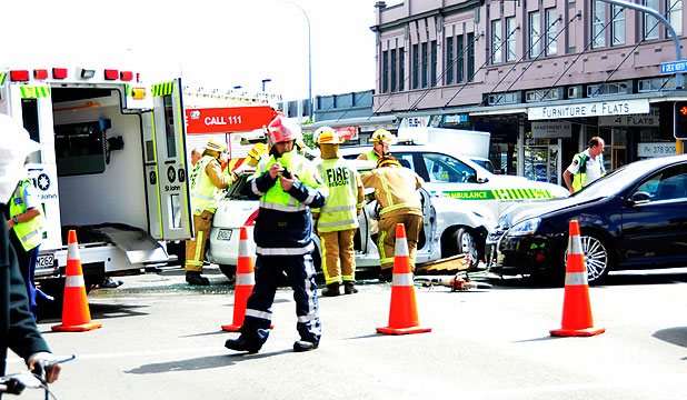 CRASH: Emergency services on site at the corner of Ponsonby and Karangahape Rds.