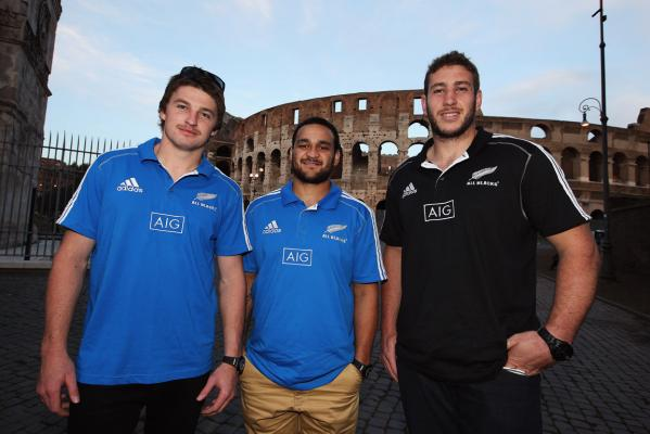 Beauden Barrett, Piri Weepu and Luke Romano