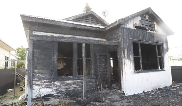 The Petone house that was gutted by fire this morning.