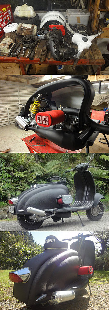 Mike Salmon's 1960 Lambretta as he received it in bits (top), during its rebuild (second from top) and in its finished state.