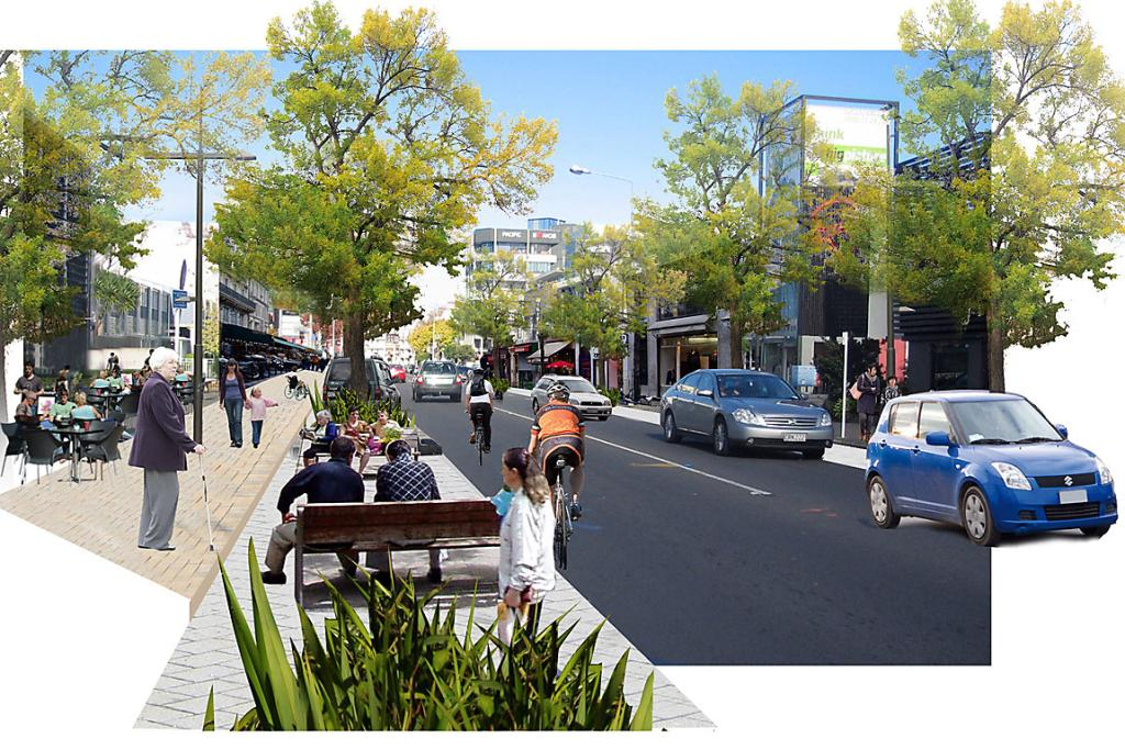 Typical main street of the future for Christchurch