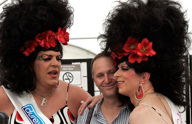 GETTING COSY: It is absurd to accuse John Key of being anti-gay.