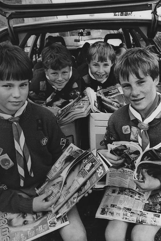 """SCOUT CAPERS: Stu, a reader who posted on the Herald website, said he's the young fellow in the top right corner of the photo, taken about 1985 when the Gleniti Scouts pictured were about 9 years old. """"After roughly 27 years of the photo being taken I can't remember why we were collecting magazines but I think the stationwagon we were in was one of our Scout leaders',"""" he said. """"I still remember the other boys too, as we went through most of our schooling together and were good mates."""""""