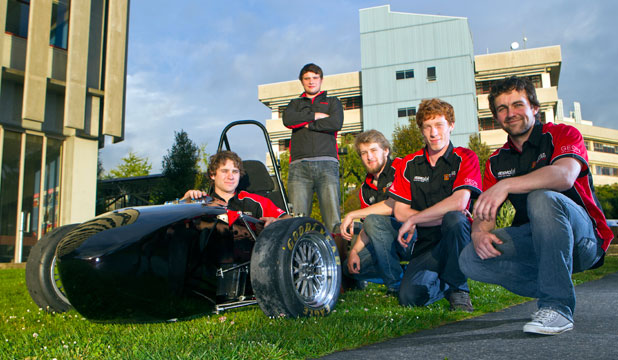 TAKING IT TO THE TRACK: Five Waikato University mechanical engineering students – from left, William Stewart-Smith, Isaac Hayes, Kirk Sweeney, Brenna Rietema and Mitchell Sanson – have designed a car to race in the Formula SAE-A at Victoria University in Melbourne next month
