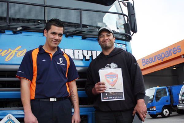 Highway hero: Truck driver Louis Maaka is given a Beaurepaires Highway Heroes Award by Beaurepaires Paraparaumu acting manager Paul Davidson.