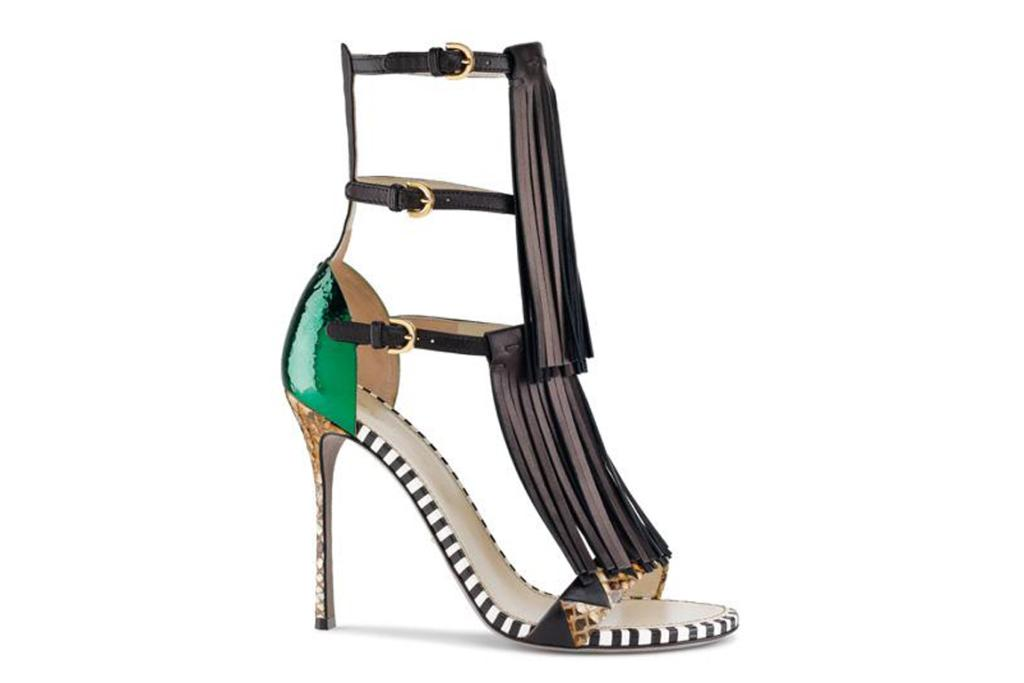 "Sergio Rossi sandals. ""From a modern tribal-inspired collection comes these fringed fancies. The blend of animal print and jade green beetle sheen makes the tribal fringing all the more spectacular."""