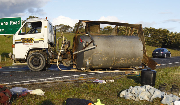 SCENE OF THE ACCIDENT: A water tanker has rolled on the Waikato Expressway at Hampton Downs.