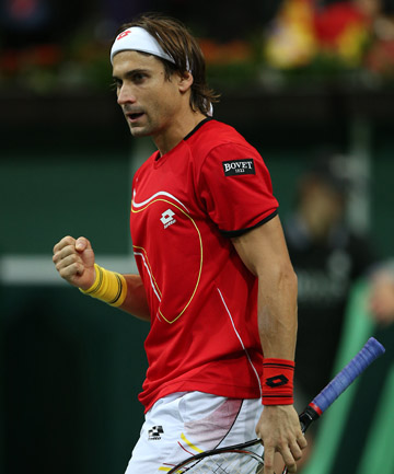 FIRST-UP WIN: David Ferrer beat Radek Stepanek to give Spain a one-nil LEAD over the Czech Republic in the Davis Cup final.