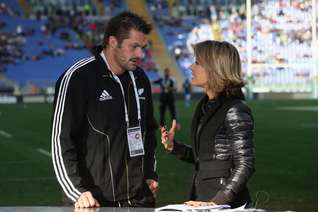 Richie McCaw gives a sideline interview ahead of the start of the test match.
