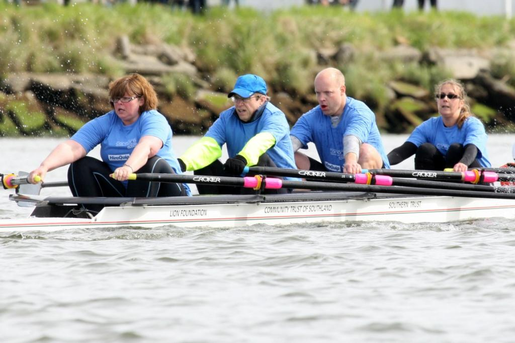 Southern District Health Board row in the Corporate Rowing Challenge on Oreti River on Saturday.
