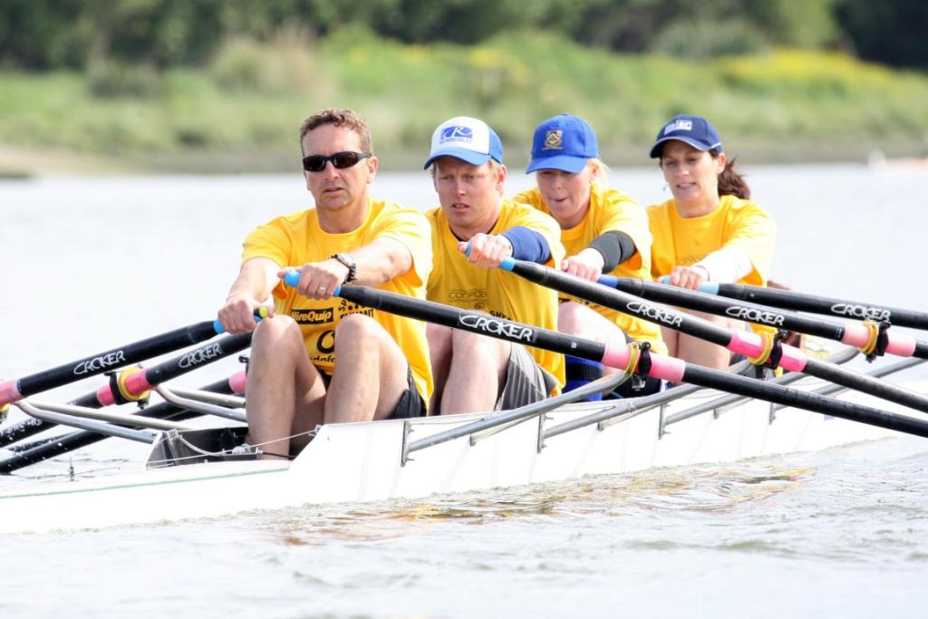 Environment Southland row in the Corporate Rowing Challenge on Oreti River on Saturday.