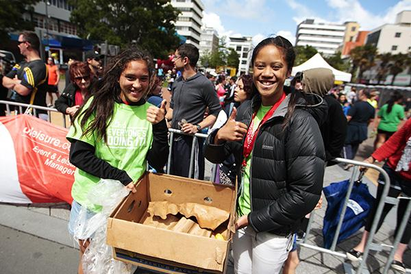 BANANA-RAMA: Terina Te Tamaki and Awa Whitiora-Te Uira from Hamilton Girls' High School touch team handed out bananas to the runners.