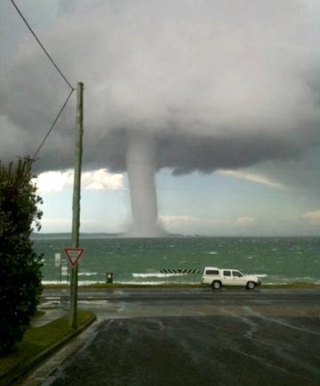 EXTREME EVENT: The waterspout, close to the shoreline near Batemans Bay.