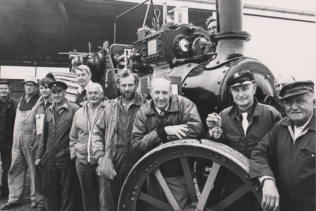 STEAM POWER: This photo of a gathering of the South Canterbury Traction Engine Club proved popular with readers. Many came forward to name the men in the picture as, from left, Laurie Speden, either Bob Graham or Ian Sadler, Brian Rhodes, Fred Rhodes, Morris Wood, Ernie Philp, Irvine Black, Gordon King, Tom Mountford and Fred Hore. Irvine Black said this engine appears to be a Burrell engine, which was not owned by the club, but by one of its members, Pat Walsh. The photo was likely taken in the mid-to-late 1980s.