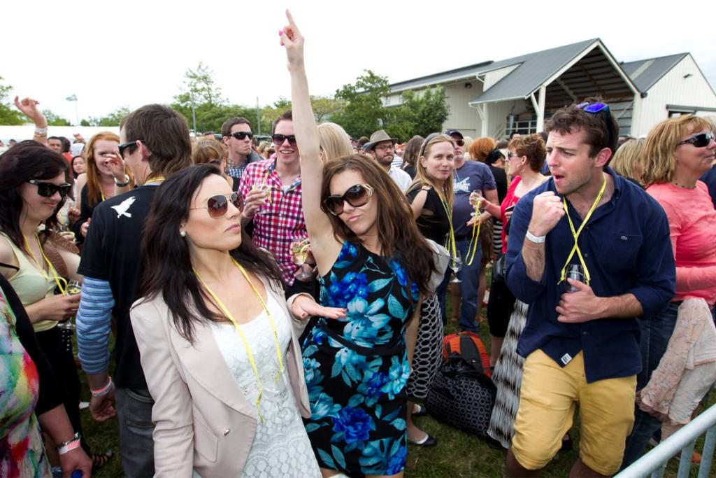People enjoy The Beat Girls at Palliser Estate during Toast Martinborough 2012.