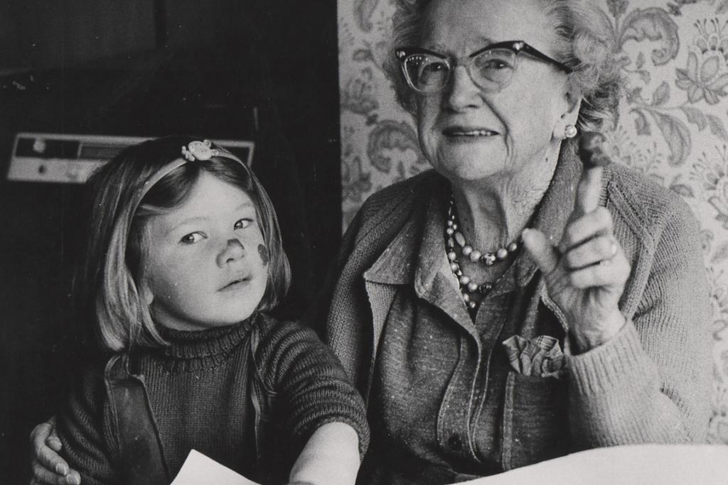 FRIENDS OF ALL AGES: Carole Osborne of Timaru recognised her mother, Mrs Muriel Bezzant, as the elderly woman in this photo. It was taken in 1983 when children from North Haven and Marchwiel child care centres visited The Croft retirement home. The little girl is Megan Hoddinott, then 4. Mrs Bezzant died in 1985, at age 85.