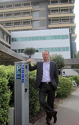 Aaron Keown outside Christchurch Hospital