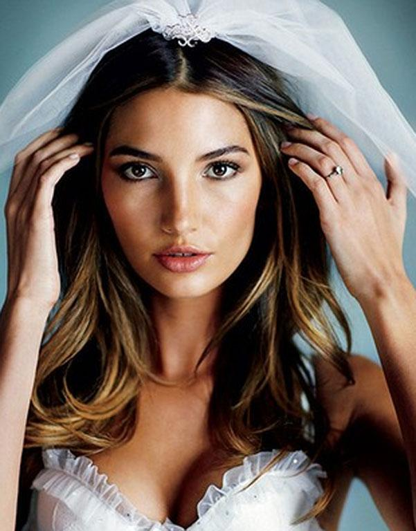 Lily Aldridge, who went on to wear this hairstyle when she wed Kings of Leon Frontman Caleb Fallowill, is seen here modelling her style for Elle.