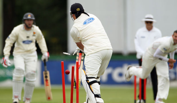 THROUGH THE GATE: Jesse Ryder fails to cover his stumps and is knocked over by Andrew Ellis for just one on the first day of Wellington's Plunket Shield match against Canterbury in Rangiora.